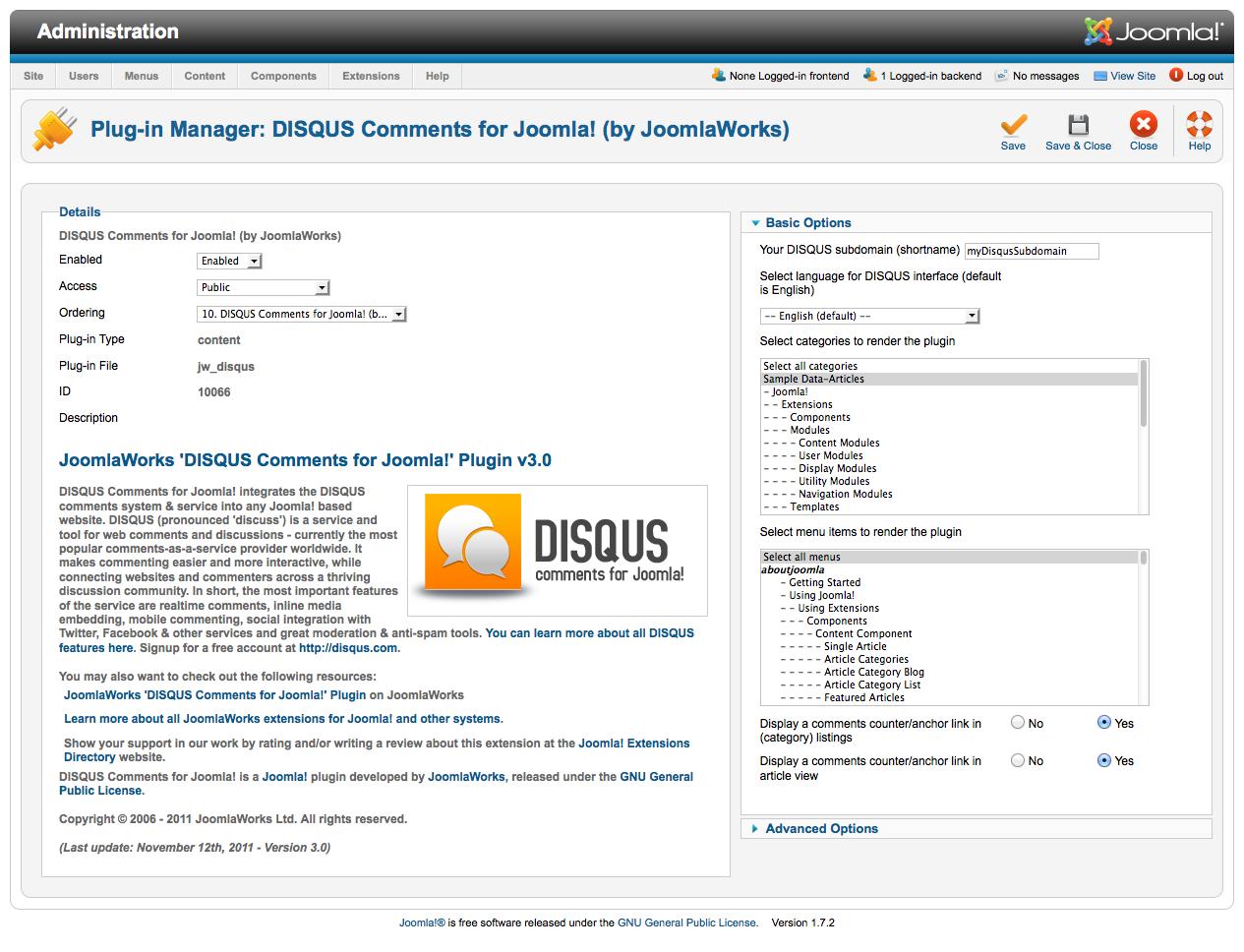 Disqus Comments (for Joomla) - JoomlaWorks