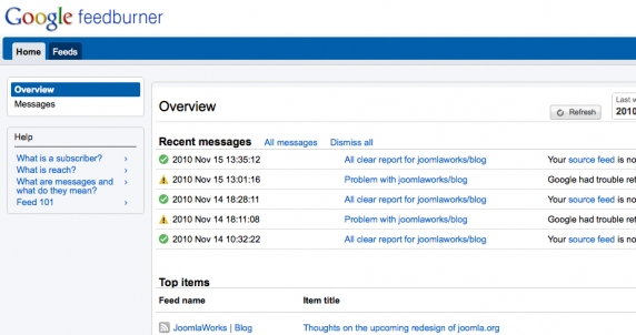 Elegant way to pass on your primary Joomla RSS feed to Feedburner