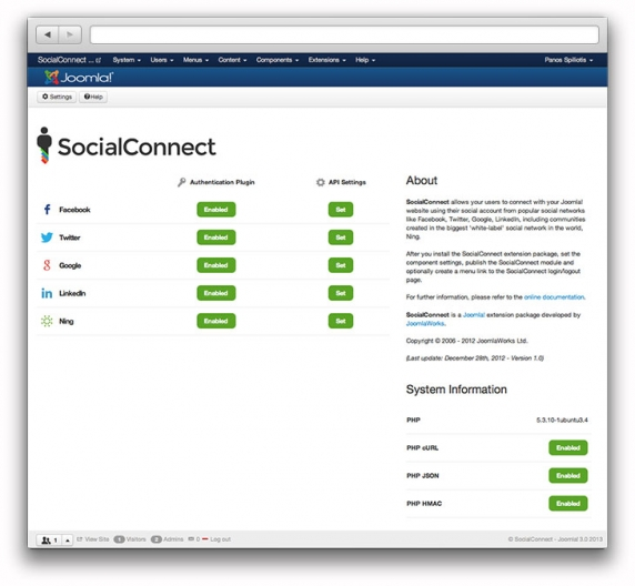 The SocialConnect backend dashboard